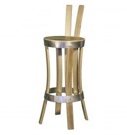 """Chaise de bar """"brut de fut"""" anneau inox, dossier simple."""